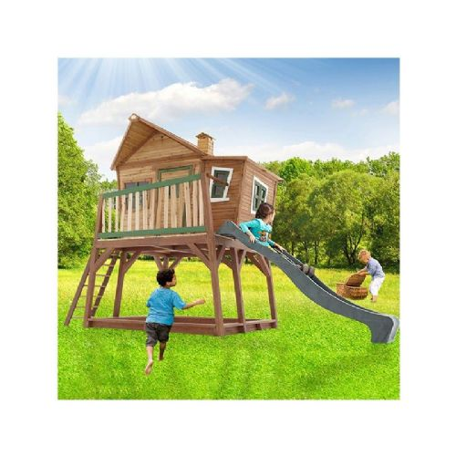 Hemsby Playhouse - Jumbo Wacky Wooden Playhouse with Porch and Big Wavy Slide